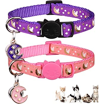 2PCS Breakaway Cats Collars with Bell Moons Stars Adjustable Kitten Collars with Pendant Glow in The Dark