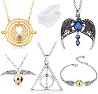 PPX 5 Pezzi Collana Set Time Turner Doni della Morte Boccino d'oro Collana e bracciali e Collana magica con una corona di ...