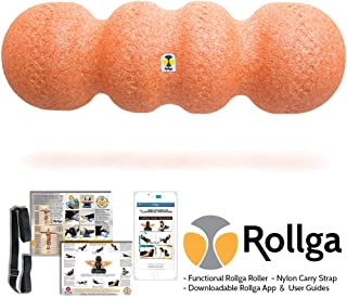 Rollga Sunrise 46cm Orange Foam Roller High Density Trigger Point Roller and Self Body Massager Muscle Pain Back Therapy Tool