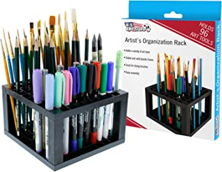 U.S. Art Supply 96 Hole Plastic Pencil & Brush Holder - Desk Stand Organizer Holding Rack for Pens, Paint Brushes, Colored Pencils, Markers