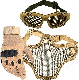 cef3c44c7 Kit Airsoft Luva Tática Dedo Completo + Máscara de Tela + Óculos Telado -  Bege