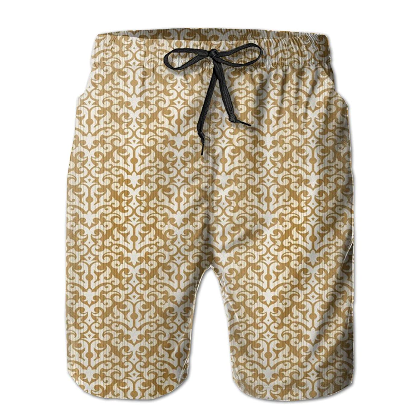 GULTMEE Men Swim Trunks Beach Shorts,Abstract Floral Pattern Withedieval Design Ornamental Victorian Image