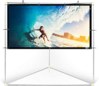"Pyle 72"" Outdoor Portable Matt White Theater TV Projector Screen w/Triangle Stand - 72 inch, 16:9, 1.15 Gain Full HD Proje..."
