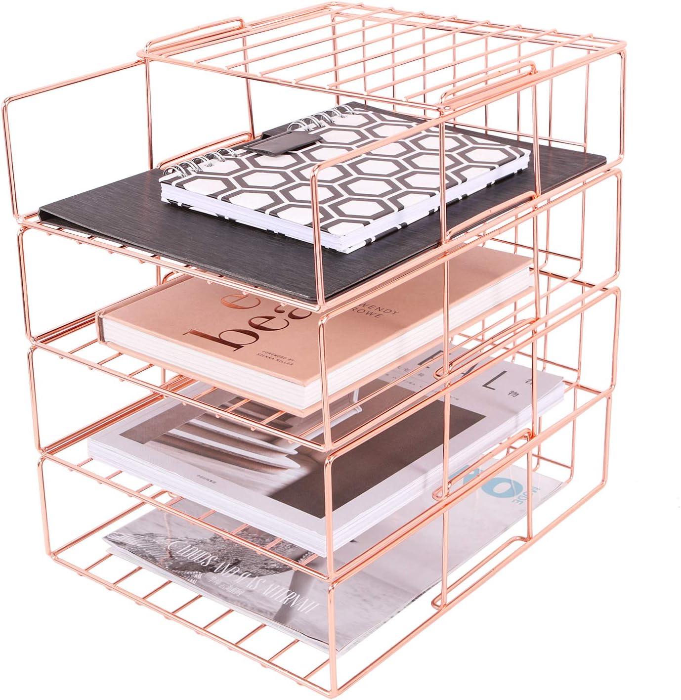 Hosaken Paper Tray 4 Tier Decorative File Large special price !! Stackable Desk Over item handling