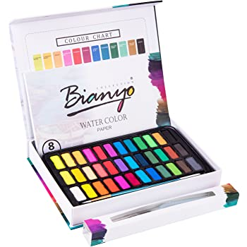 Bianyo Watercolor Set -36 Vibrant Colors - Watercolor Paper- Brush-Palette for Kids Adults Painting, Coloring, Gift Travel Case