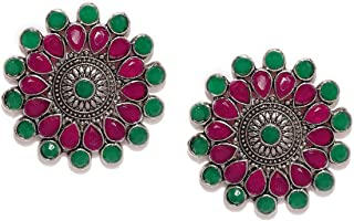 Zaveri Pearls Oxidised Stud Earrings for Women (Silver)(ZPFK8627)