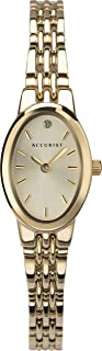 Accurist Womens Oval Japanese Quartz Watch With Crystal Stone Set Sunray Dial, Splash Resistant, 2 Year Guarantee.