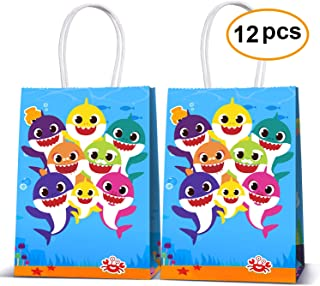 Cute Shark Party Bags For Baby Birthday Favor Kids Candy Gifts Paper Bag, Well for Girls or Boys-12pack