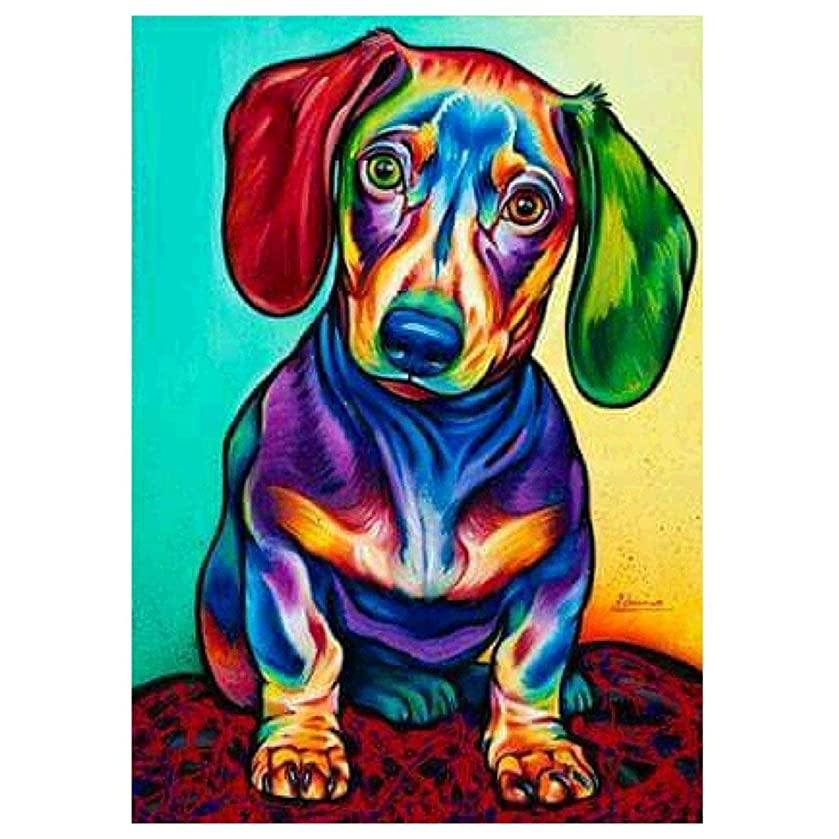 5D Diamond Painting Kit Dachshund Crystal Rhinestone Cross Stitch Embroidery Arts Craft Picture Supplies for Home Wall Decor 11.8 x 15.8 inch