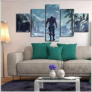 HDプリントキャンバス油絵ゲーム画像5ピースウィッチャー3ワイルドハント家の装飾リビングルームアートワークポスター