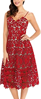 Womens Sexy V Neck Sleeveless Lace Dress Vintage Cocktail Party Dresses(S-XL)
