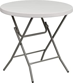 Flash Furniture 3-Foot Round Granite White Plastic Folding Table, RB-32R-GW-GG, Gray/White