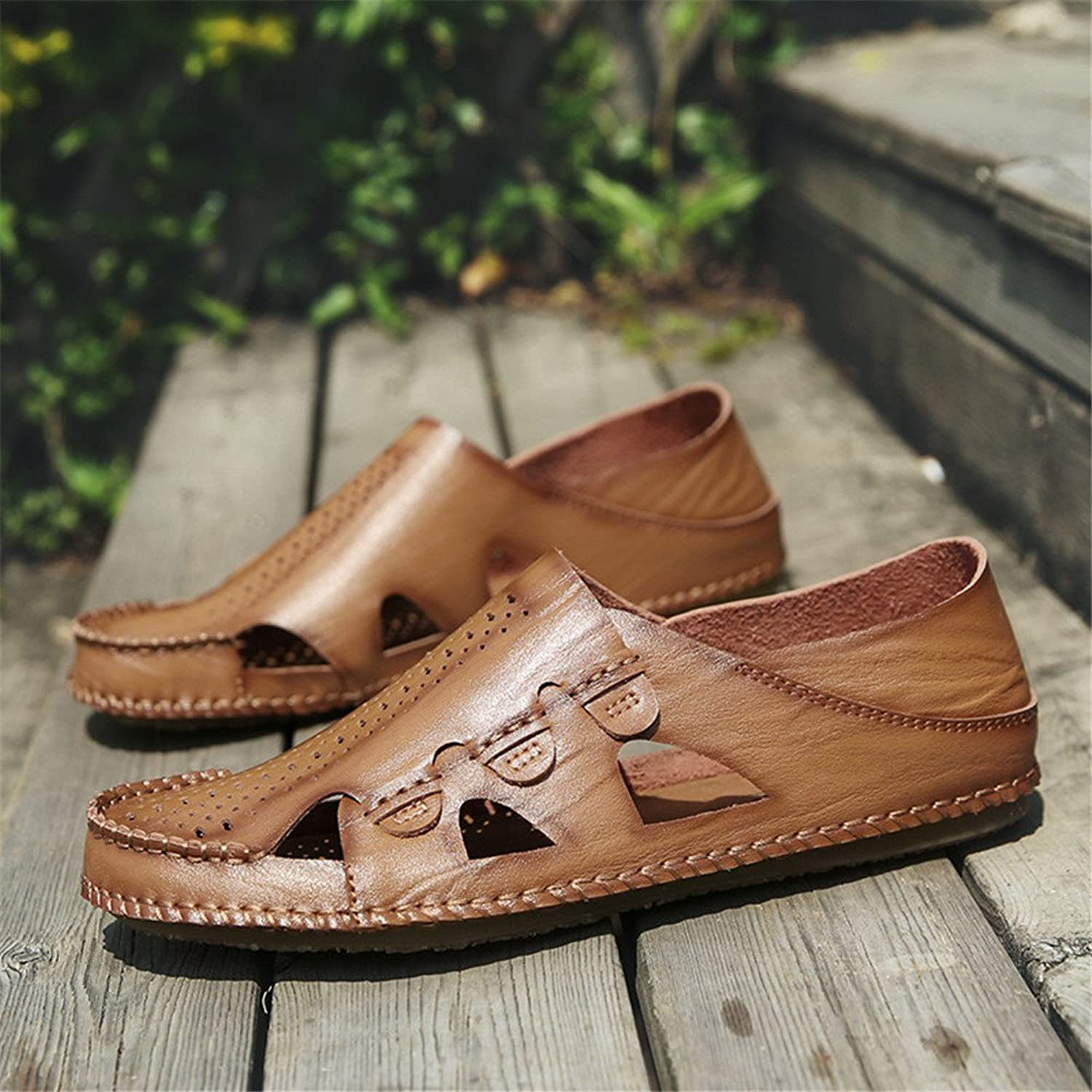 XUJW-Sandals, Men's Summer Genuine Leather Beach Slippers Casual Breathable Perforation Handwork Suture Non-Slip Soft Flat Closed Toe Sandals