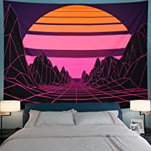 Leofanger Sun Tapestry Mountain Tapestry Abstract Purple Mountains Tapestry Retro Geometric Wave Tapestry Wall Hanging for Living Room Dorm (XL-70.8