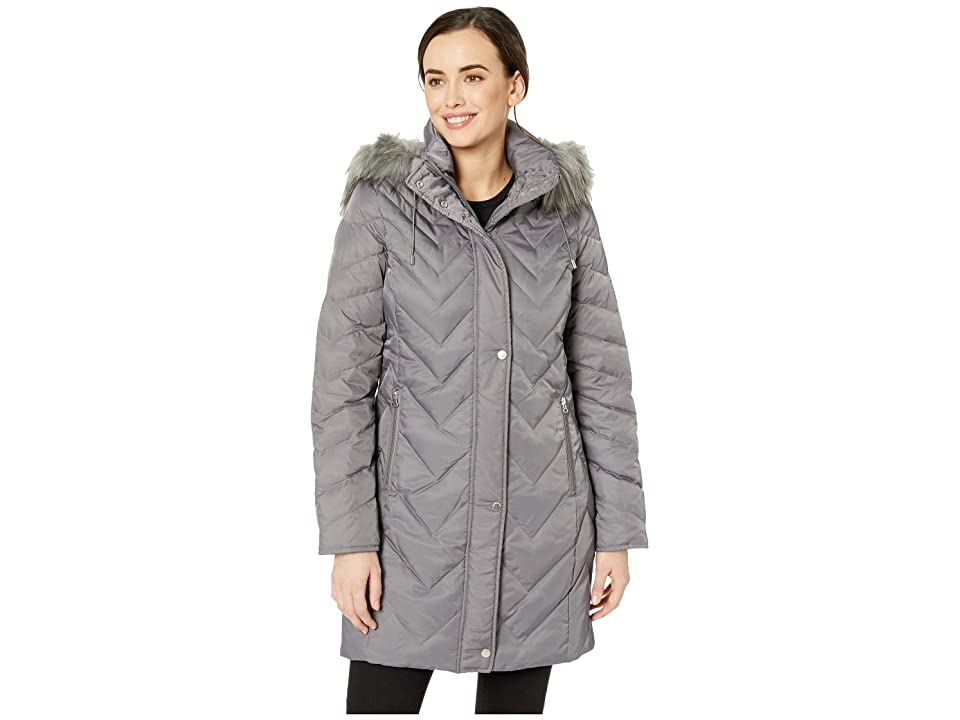 Marc New York by Andrew Marc Roxbury Matte Satin Down Fill Puffer 38 Faux Fur Trim Hood (Grey) Women