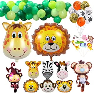Safari Party Decorations Balloons- 68 Pcs Jungle Animals Party Decorating Kids Birthday Safari Baby Shower Cupcake Toppers Latex and Foil Balloons Pack