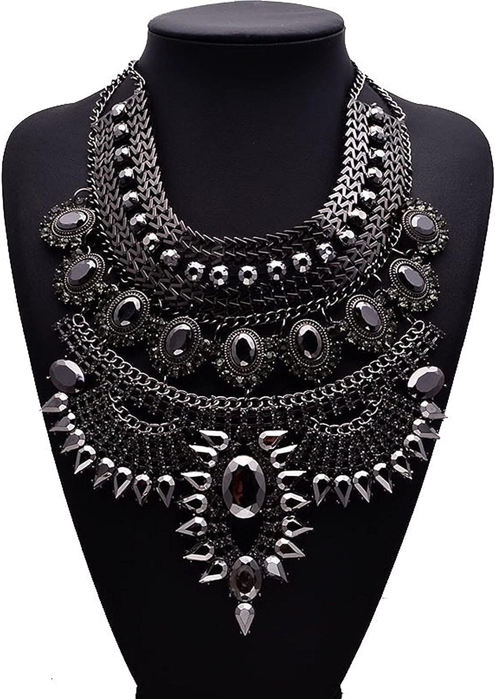 WANZPITS Women's Fashion Ethnic Style Bib Necklace,Large Bohemian Retro Alloy Waterfall Necklace Punk Tassel Collar Bib Pendant Necklace,4