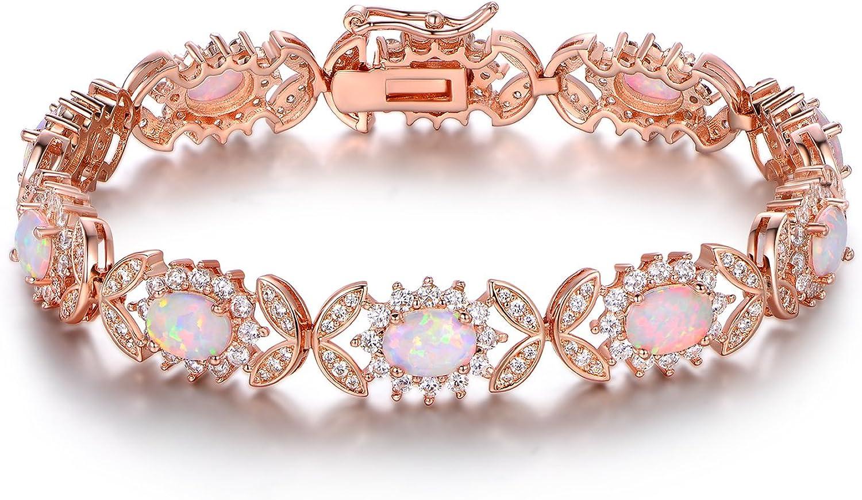 Barzel 18K White Gold or Rose Gold Plated Created Opal Tennis Bracelet