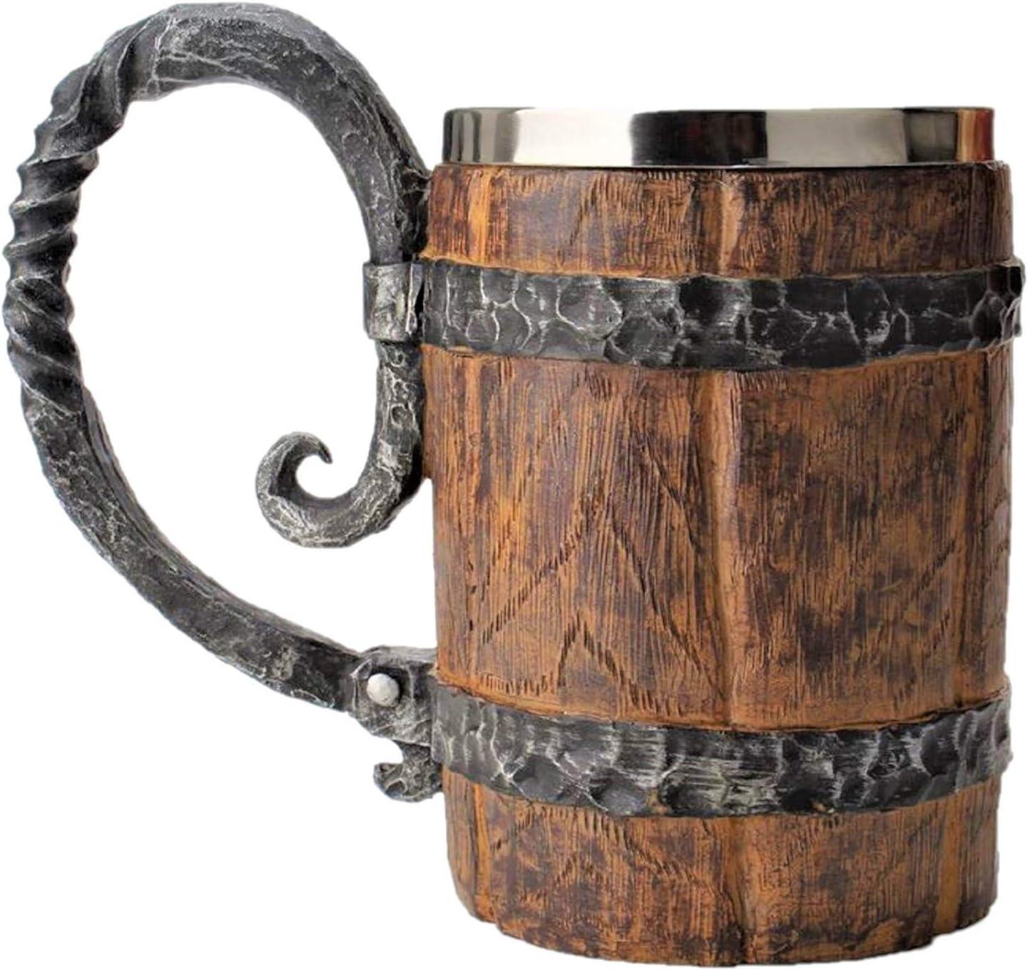 Handmade Stainless Steel Beer Wine Barrel Cup Vi sold out Wooden Mug Wood Manufacturer direct delivery