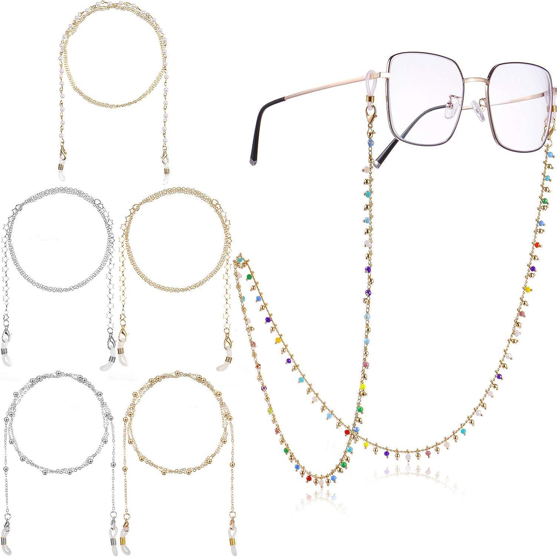 6 Pieces Beaded Eyeglass Chains Eyeglasses Strap Holder Face Covering Lanyard Beaded Eyewear Retainer Sunglasses Strap Reading Glasses Cords Lanyards for Women