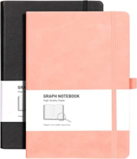 Graph Paper Notebook 2 Pack - RETTACY Graph Paper Journal for Women with 384 Pages,Hard Cover,100gsm Thick Graph Paper,''5...