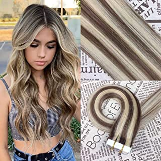 HIKYUU 16 Inches 30g/20pcs Tape in Hair Extensions Human Hair Brown Highlighted Seamless Skin Weft Remy Tape ins Light Brown Highlights with Blonde #P10/613