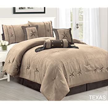 Brown//Beige//Teal Horseshoe Teal, King Barb Wired Embroidered Bed in a Bag Western Cowboy Bedding Set- JENA Horse WPM WORLD PRODUCTS MART 7 Piece Rustic Comforter Set