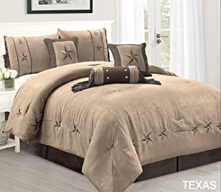 7 Piece Taupe/Brown/Gold Bedding Oversize RUSTIC TEXAS Lone Star (California) Cal King Size (106