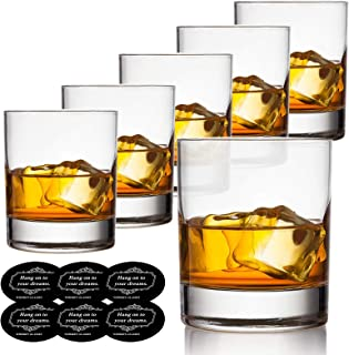 Old Fashioned Whiskey Glasses Set of 6 with Drink Coasters, Vivimee Scotch Glasses 10 oz, Crystal Cocktail Glasses for Men...