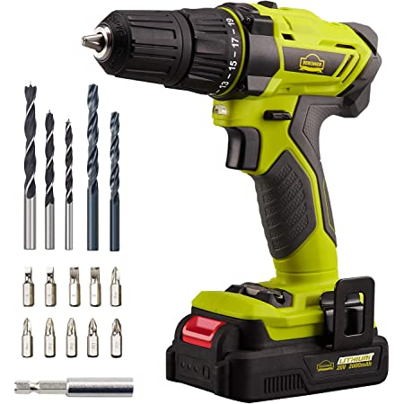 WESCO 12V Compact Drill Driver Wood: 15mm 10mm Chuck,13Pcs Bits Kit Variable Speed 0-850RPM Flexible Shaft Cordless Drill Max Drill Steel: 6mm Charger and Storage Case//WS2551K