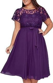 534dde813c1 Nemidor Women s Vintage Style Lace Top Plus Size Midi Party Cocktail Dress