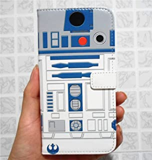 Galaxy S7 Wallet Case - R2D2 Robot Blue and White Pattern Slim Wallet Card Flip Stand PU Leather Pouch Case Cover For Samsung Galaxy S7 - Cool as Great Gift