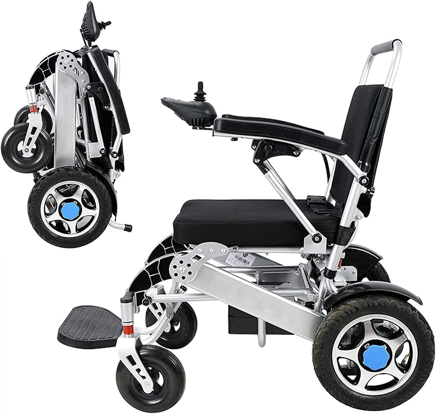 Silla de ruedas eléctrica portátil plegable ligera y plegable Silla de ruedas de ayuda de movilidad compacta de lujo de motor dual potente, para personas mayores con discapacidades Batería de litio