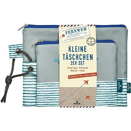 moses. Fernweh Täschchen Bon Voyage 2er Set | 2 Kosmetiktaschen für die Reise | Für Schminkutensilien Kosmetiktäschchen, 22 cm, Grau