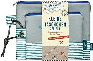 Fernweh Täschchen Bon Voyage 2er Set   2 Kosmetiktaschen für Die Reise Schminkutensilien Neceser, 22 cm, Gris (Grau)