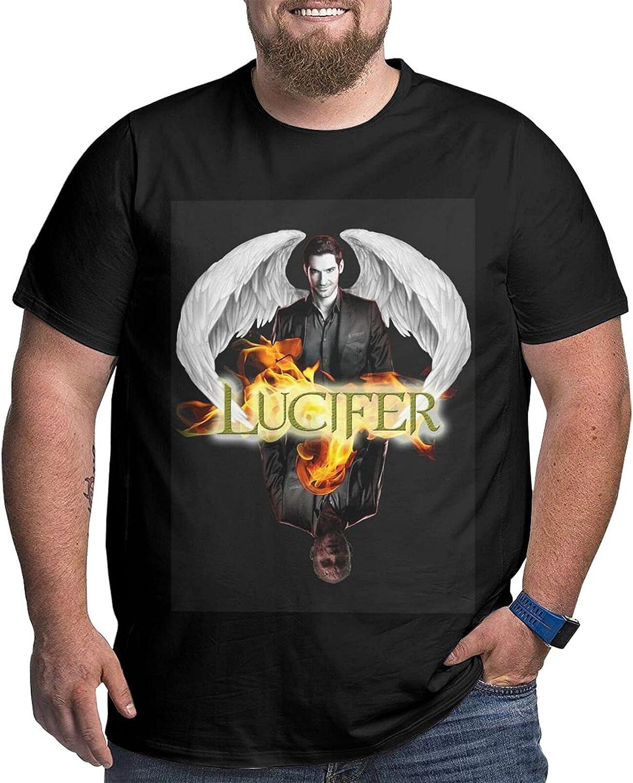 lwufnok Lucifer Big Size Men's t-Shirt Round Neck Short Sleeve T-Shirt