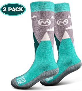 Kids Ski Socks - Merino Wool Breathable Blend, Over The Calf (OTC) with Non-Slip Cuff, Sizes 7-11.5 - 12-4 - for Boys and Girls (1 Pair or 2 Pair)