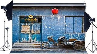 EdCott 5X3FT Antiguo Restaurante Chino Telón Fondo Linterna roja Peladura Fondos Puertas Madera Vintage Carretilla Mano Retro Pared ladrillo Fondo fotografía para Turismo Aire Libre fotográfico