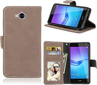 Phone Cases & Covers Flip Stand Case Cover Retro Style PU Leather Case with Kickstand and Card Slots for Huawei Y6 2017 Mobile Phone Cases (Color : Beige)