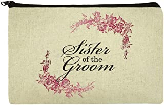 Wedding Floral Sister of the Groom Makeup Cosmetic Bag Organizer Pouch