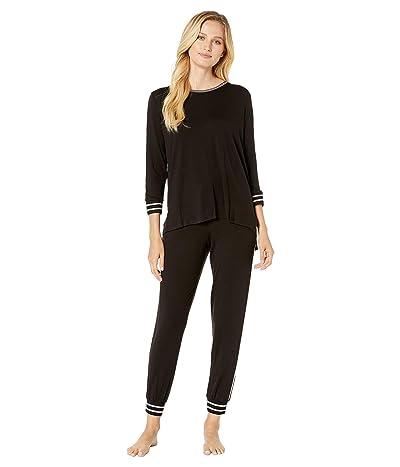 Donna Karan Long Sleeve Tee Jogger Pajama Set (Black) Women