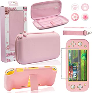 BRHE Pink Travel Carrying Case Accessories Kit for Nintendo Switch Lite, Hard Protective Cover Skin Shell with Stand, Glas...