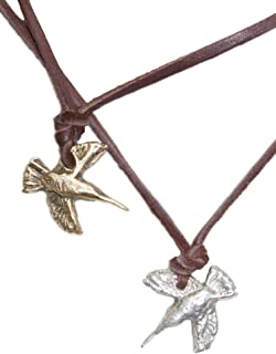 Pame Design Hummingbird Necklace on Leather - Celebrity Favorite Nature Inspired Surf Jewelry, Minimalist, Edgy and Bold Handmade Unique Designs Perfect for Layering