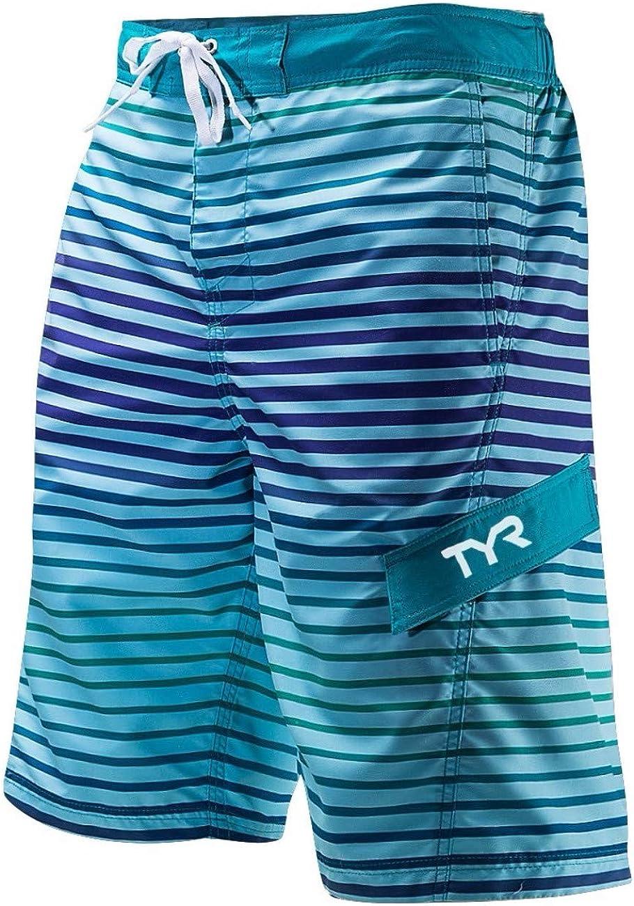 TYR Men's Sunset Stripe Boardshort, Blue, L