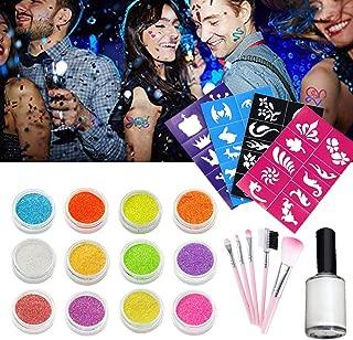 Glitter Tattoo Set Temporary Tattoos Makeup Set (12 Color Bottles of Glitter Powder, 4 sheets Cool Tattoo Stencils, 1 Glue Applicator, 5 Brushes) Glitter Tattoo Kits for Kids