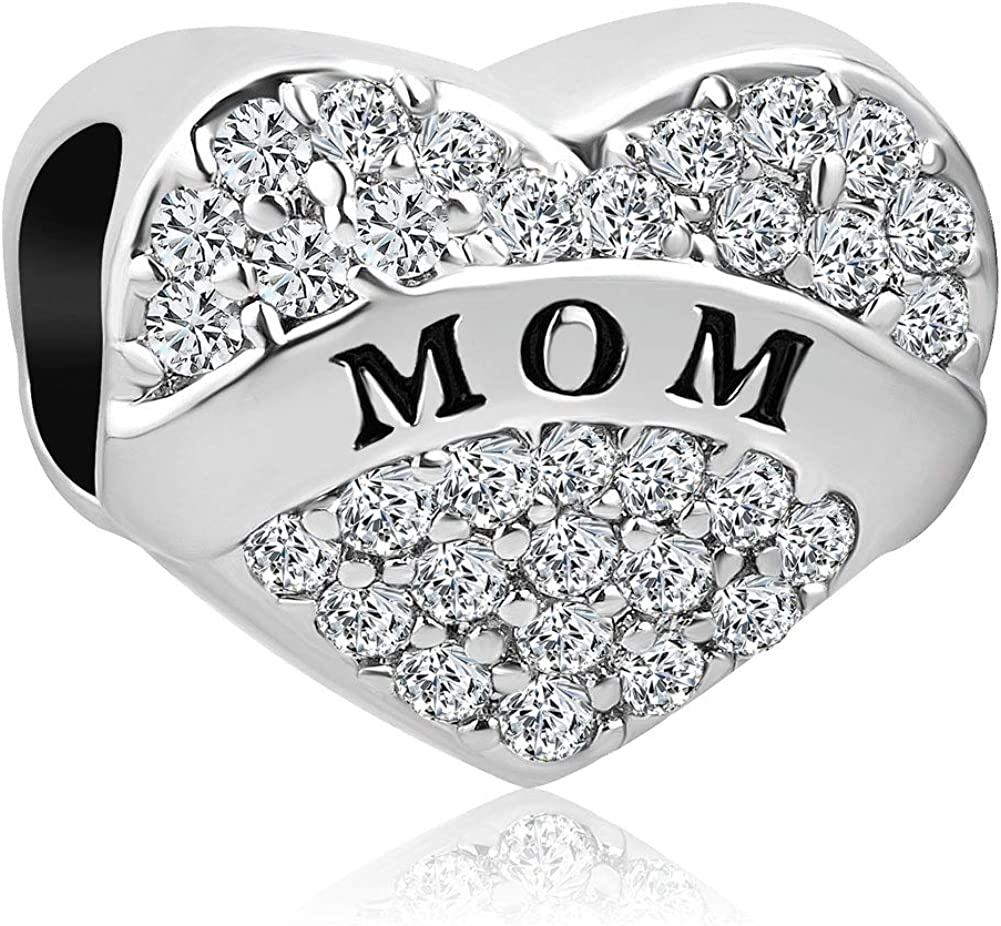 Dealing full price reduction LilyJewelry Mom Sister Love Heart Charm with Indefinitely Synthetic April Bir