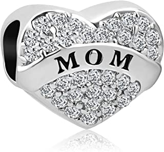 Q&Locket Heart I Love You Mom Sister Charms Beads for Bracelets
