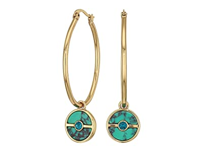 Vince Camuto Charm Hoops Earrings (Gold/Indicolite/Turquoise) Earring
