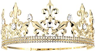 Eseres Full Circle Men's Crown Imperial Medieval Tiara Fleur De Lis Gold King Crown Pageant Party