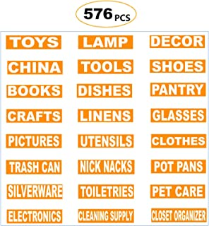 576 Count Moving Labels Content Pack, 24 Different Box Content Labels, 1 Inch x 4 Inch Permanent Color-Coding Moving Stickers Supplies (Upgraded)